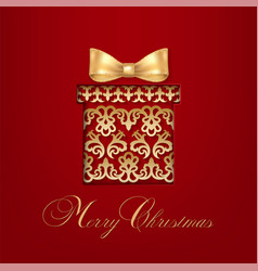 ornamental gift with bow vector image vector image