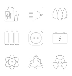 Various energy icons set outline style vector image