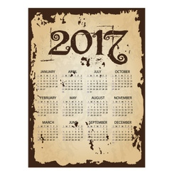 2017 simple business wall calendar with torn old vector image vector image
