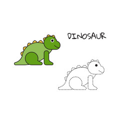 coloring book dinosaur vector image
