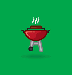 fried meat smokes on vector image vector image
