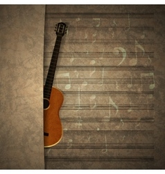 musical background guitar on old sheet music vector image