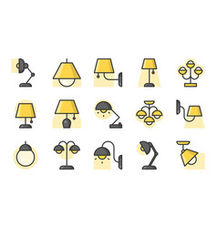 set of lamp icon filled outline icon vector image vector image