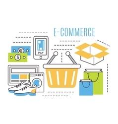 thin line e-commerce vector image