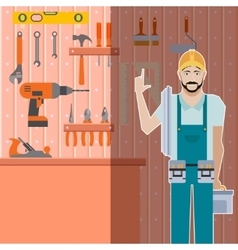 Tool shed with worker vector image vector image