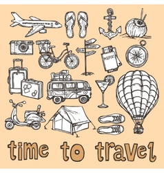 Travel sketch icons set vector image