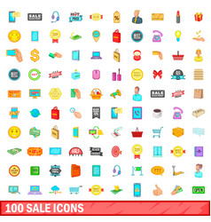 100 sale icons set cartoon style vector image