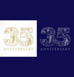35 anniversary vintage silver gold vector image