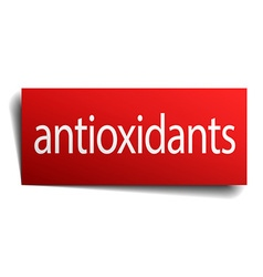 Antioxidants red paper sign isolated on white vector