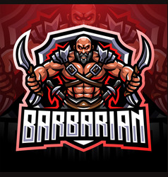 Barbarian esport mascot logo design vector