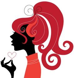 Beautiful girl silhouette profile vector