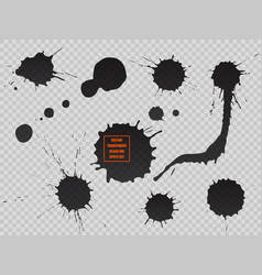 black ink spot set paint blot semitransparent vector image