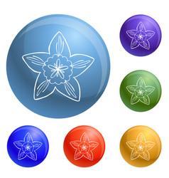 Botany flower icons set vector