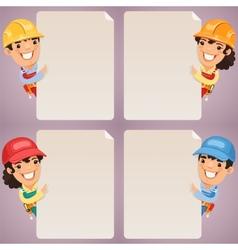Builders Cartoon Characters Looking at Blank vector image