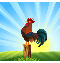 Cartoon rooster crowing at dawn vector