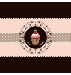 cherry cupcake invitation card pink brown backgrou vector image