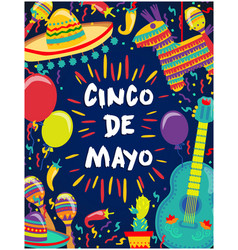 cinco de mayo poster of fiesta elements vector image