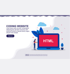 Coding website web developer concept with tiny vector