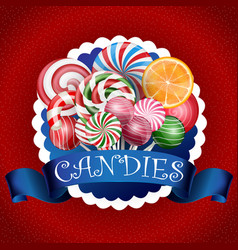 colorful candy background with realistic blue ribb vector image