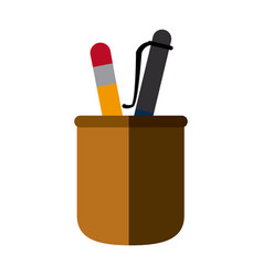 Cup with writing utensils pencil and pen school vector