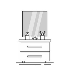 cupboard with sink with mirror vector image