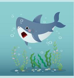 Cute cartoon shark swimming vector
