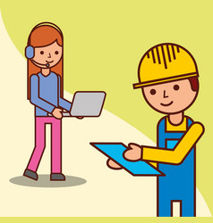 delivery man checking and operator woman holding vector image