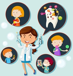 Dentist and eating habit of children vector image
