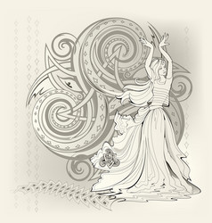Fantasy dancing celtic fairy and triple vector