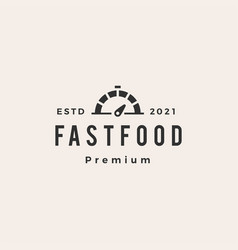 fast food dial hipster vintage logo icon vector image