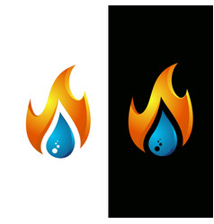 flame water drop logo template vector image