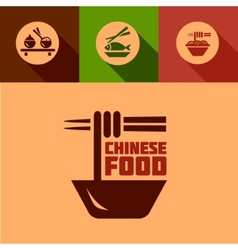 Flat chinese food design elements vector