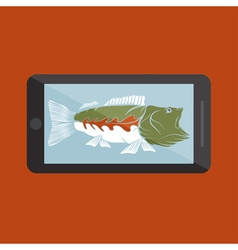 Flat design with big mouth bass vector