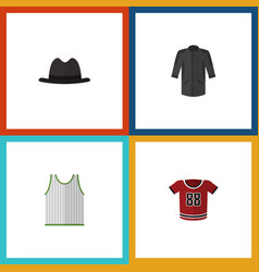 Flat icon clothes set of singlet t-shirt uniform vector