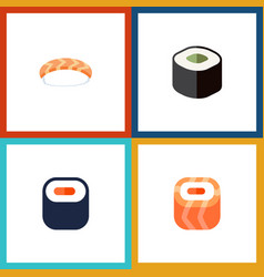 Flat icon sashimi set of maki seafood salmon vector