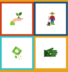 Flat icon seed set of glove packet man and other vector