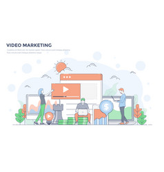 flat line modern concept - video marketing vector image