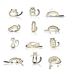 Funny cats collection for your design vector