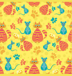 Funny cute seamless pattern with catsmicecheese vector