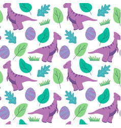 funny dinosaurs seamless pattern ideal for cards vector image