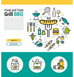 grilled sausage on fork - round concept vector image