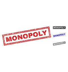 Grunge monopoly scratched rectangle stamp seals vector