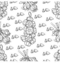 hand drawn seamless pattern garlic vector image