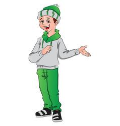 happy boy gesturing vector image