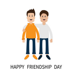 happy friendship day boys hug icon friends vector image