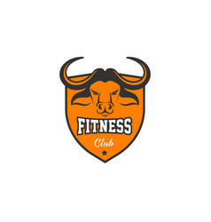 head of bull buffalo fitness crossfit gym vector image