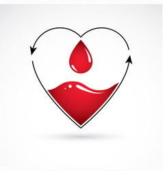 Heart shape with arrows and drops of blood vector