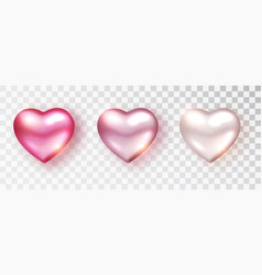 Hearts set shades pink color for valentine s vector