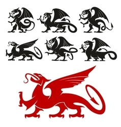 Heraldic Griffin and mythical Dragon silhouettes vector image