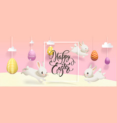horizontal happy easter banner template with eggs vector image
